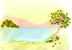 Lovely watercolor landscape in yellow, green, and blue. This piece has a mate, Harvest Bloom II.