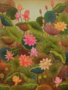 Lotus Series - II,[product_collection],Kynkyny Art,Roy K. Flower Painting, Art Painting, Mural Painting, Mural Art, Kerala Mural Painting, Painting, Pichwai Paintings, Art, Art Wallpaper