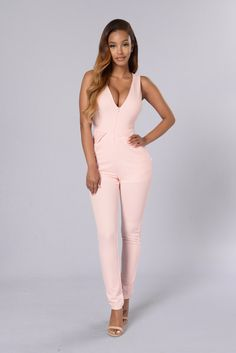 Also available in Blush and Sky Blue - Deep V - Back Cutout - Hidden Zipper Front - Side Pockets - Skinny Leg - 96% Polyester, 4% Spandex