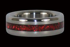 Red Metallic Titanium Ring Valentine's Day Rings, Band Rings, Valentines Day For Men, Titanium Rings, Orange, Men's Accessories, Purple, Red, Metallic