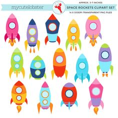 Space Rockets Clipart Set - rockets, space, clip art of flying rockets, spaceships - personal use, s