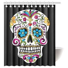 Sugar Candy Skull Day of Dead On Black Backdrop Bath Room Shower Curtain with Hooks 60 W x 72 H inches Rock and Roll Skull Skeleton Bone Love Music Shower Curtain Polyester Waterproof Mildew Proof