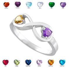 Dainty 925 Sterling Silver Personalized Mix-and-Match Dual CZ Heart Birthstone Infinity Ring (Size Birthstone Jewelry, Gemstone Jewelry, Jewelry Rings, Jewelery, Silver Infinity Ring, Infinity Rings, Promise Rings For Her, Purple Amethyst, Stone Rings