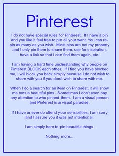 Well Said!! You are always welcome to re-pin any and as many of my pins as you would like. Have Fun and Happy Pinning!!!!  ===== Same here at Falling-Star! Please visit and re-pin.