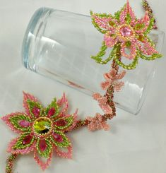 Rivoli Crystal Beadwoven Necklace Pink  Coral Olive Green Brown  Unique Beaded Beadwork Beadweaving Jewelry  Sakura
