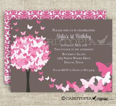 BUTTERFLY BIRTHDAY PARTY Invitations. Love!