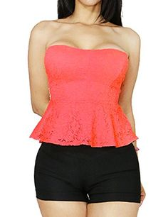 Women Pretty Floral Lace Strapless Peplum Dress Top with Padding Large Coral-65737. Ships from USA. Processes and ships within 24 hours(Mon-Sat). ** SEARCH ' FANDSWAY ' TO VIEW ALL OF OUR UNIQUE COLLECTION **. Each item is inspected thoroughly for any damages before shipping. FANDSWAY brand products are made from high quality materials. Our designers are able to create the trendiest up-to-date outerwear by integrating classic and modern fashion trends. We specialize in women, lady, junior…