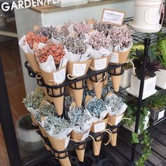 Flower farm pick up and gocool way to display bridles and haltersflowers in brown paperHangers used for gardening tools. Flower Shop Decor, Flower Shop Design, Flower Truck, Flower Bar, Flower Shop Interiors, How To Wrap Flowers, Flower Packaging, Flower Stands, Flower Aesthetic