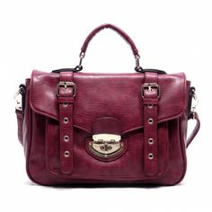 Chic Faux Leather Structured Purse with Buckled Flap Over Front Closure with Top Handle Featuring Buckled Double Trim.