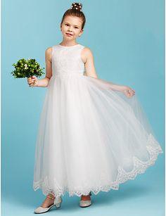 Γραμμή Α Πριγκίπισσα Στρογγυλή Ψηλή Λαιμόκοψη Μέχρι τον αστράγαλο Δαντέλα Τούλι Φόρεμα Νεαρών Παρανύμφων με Φιόγκος(οι) με LAN TING BRIDE®