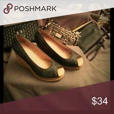 Shoes - Comfy, worn twice, no slip bottom. Peep toe wedges Seychelles Shoes Wedges