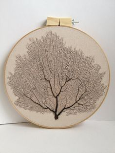 Framed Sea Fan coral hand-stitched stretched on embroidery hoop in a natural fabric.- beach,cottage  decor. Great summer gift. Summer decor.. $49.00, via Etsy.