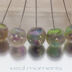 Lampwork headpins Silvered Nuggets 1 Enchanted on by IcedMoments