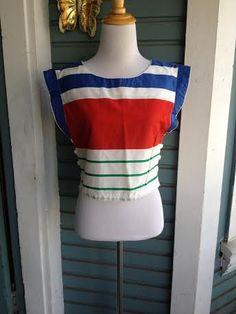 Stripes stripes who doesn't love them stripes. Vintage 1980's mid-drift top size Sm on Etsy, $14.00