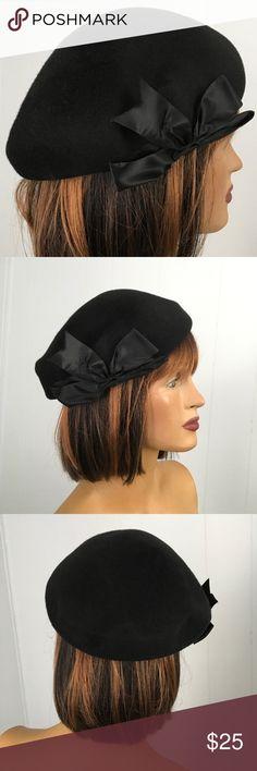 44da82ccbe67e VTG Black Beret Wool Hat Glenover Henry Pollak Vintage  40s or 50 s black  beret 100