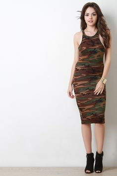 fd75c46360da Camouflage Asymmetrical Racerback Midi Dress Formal Dresses, Midi Dresses,  Camouflage, Style, Red
