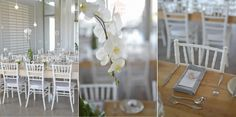 Wooden table with white Tiffany chairs, grey napkins and white orchid plants