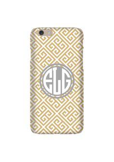 Gold Greek Key Monogram #iPhone6case #galaxyS6case
