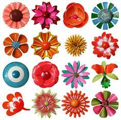 a garden of enameled flower pins