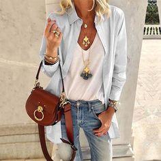 Look Boho Chic, Estilo Fashion, Fashion Seasons, Pattern Fashion, Blouses For Women, Ladies Blouses, Ladies Dresses, Types Of Sleeves, Mantel