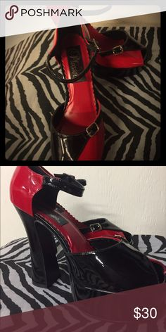 VERY SEXY! Brand New Red/Black Pleaser Heels Never worn pair of pleaser heels in original Pleaser bags. Vintage style! Shoes Heels
