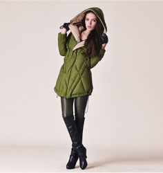 Womens Winter Oversized Green Hooded Duck Down Quilted Jacket Warm Thickened Coat Parka