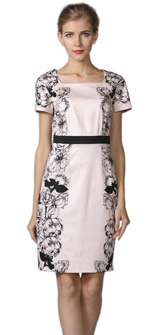 YACUN Women's Floral Printed Short Sleeve Office Sheath Dress * Check out this great product.