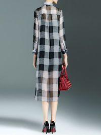 Plaid Silk Midi Dress