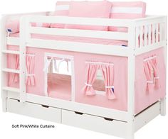 Bunk Bed Curtains Pink & White - Kids Curtains - Ideas of Kids Curtains Loft Bed Curtains, Bunk Bed Tent, Low Bunk Beds, Bunk Beds For Girls Room, Modern Bunk Beds, Bunk Beds With Stairs, Kid Beds, Kids Bedroom, Trundle Beds
