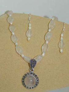 Rose Quartz & .925 Sterling Silver Pendant on Rose Quartz/Freshwater Pearls Set  | eBay