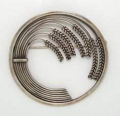 Georg Jensen Sheaf Of Wheat Large Circle Sterling Silver/925 Pin/Brooc