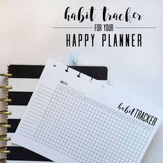Habit Tracker Insert, Printable PDF For Happy Planner MINI, Minimal Black & White, Print at Home, PDF Download, Monthly Tracker