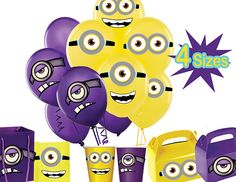 INSTANT DOWNLOAD Despicable Me Printable Goggle Eyes & Mouth Balloon Stickers…