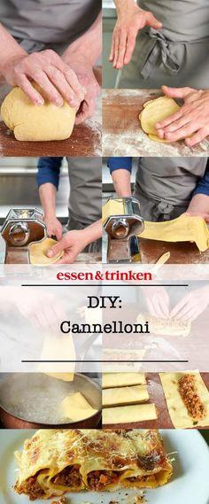 Cannelloni selbst gemacht: So macht ihr die gefüllten Nudeln selbst! Ravioli, Pasta Recipes, Meals, Dinner, Ethnic Recipes, Tortellini, Kitchenaid, Gnocchi, Tricks