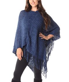 Look what I found on #zulily! Royal Blue Rectangle-Knit Poncho - Plus by Diva Designs #zulilyfinds