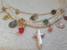 Vintage Freshwater Pearl Necklace with Catholic Saints Medals
