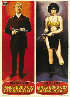 """Sir James Bond and The Detainer (i.e. David Niven and Daliah Lavi in """"Casino Royale"""", the infamous 1967 parody film), italian poster art by Giorgio Olivetti"""