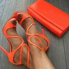 2017 shoes Women Fashion Sandals Cuts Out Gladiator Sandals Thin Heels Wedding Shoes Buckle Sexy High Heels Leather Pumps Hot Shoes, Women's Shoes, Me Too Shoes, Shoe Boots, Wedge Shoes, Shoes Style, Ankle Boots, Orange Sandals, Orange Shoes
