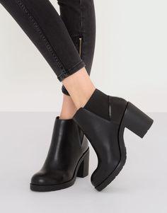 Botín tacón combinado negro - Ver todo - Calzado - Mujer - PULL&BEAR España