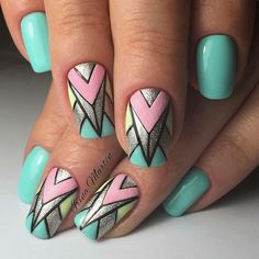 Aztec Nail Art, Geometric Nail Art, Tribal Nails, Nautical Nails, Chevron Nails, Pretty Nail Designs, Toe Nail Designs, Gel Nagel Design, Latest Nail Art