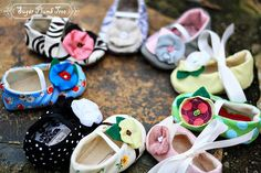 Collection of baby shoes for purchase that I handmade.