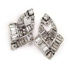 Sweet Romance Art Deco Vee Baguette Crystal Earrings ($52) ❤ liked on Polyvore featuring jewelry, earrings, white, white earrings, white crystal earrings, clasp earrings, art deco crystal earrings and deco earrings