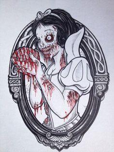 snow white zombie tattoo flash