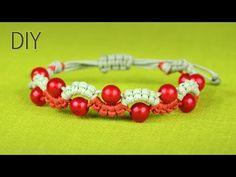 Easy Wave or Snake Bracelet with Beads - Macrame Tutorial Hemp Jewelry, Jewelry Knots, Macrame Jewelry, Macrame Bracelets, Jewelry Crafts, Bracelet Tutorial, Beads Tutorial, Easy Waves, Motifs Perler