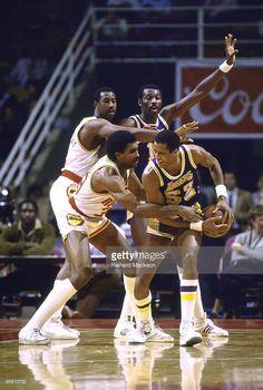 Los Angeles Lakers Jamaal Wilkes (52) in action vs Houston Rockets Robert Reid (33). Houston, TX