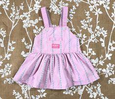 7ae343a5597 2T Vintage OshKosh Made in USA Overalls Dress Romper Pink Gingham Carousel  Horse Jumper Flowers Toddler Girl