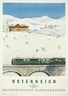 Austrian Federal Railways (Österreichische Bundesbahnen or ÖBB) Train Posters, Railway Posters, Vintage Ski Posters, Postcard Art, Vintage Graphic Design, Travel Images, Rest Of The World, Vintage Advertisements, Illustration
