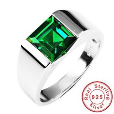 Fashion Russian Nano Green Emerald Wedding Engagement Ring Sets For Men Genuine Solid 925 Solid Sterling Sliver Vintage Jewelry