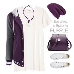 Everything Is Better In Purple (Won TFS) by nightowl59 on Polyvore featuring Monki, Converse, Poiray Paris, Halogen, purple and shirtdress