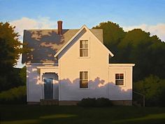 Farmhouse Shadows by Jim Holland. The painting speaks to the many nuances of architecture Landscape Art, Landscape Paintings, House Paintings, Painting Inspiration, Art Inspo, Edward Hopper, Guache, American Artists, Architecture